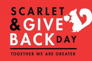 Logo reads Scarlet & Give Back Day, together we are greater, with squirrel and acorn graphic