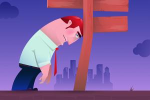 Illustration of man with disappointed expression resting head on directional sign