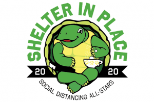 Shelter in Place 2020 Social Distancing All-Stars Green and Yellow Tortoise  with a cup of tea