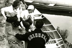 Archive image of students with canoe