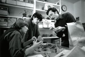 John Whittaker's class in 1985 observing rocks