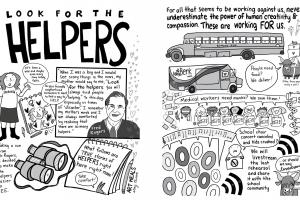 Two examples of the Helpers cartoons, included larger in the story