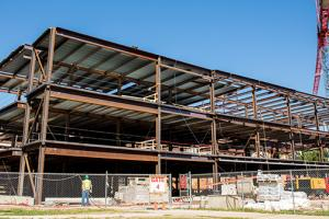 3-story steel structure in place on east side of Carnegie Hall