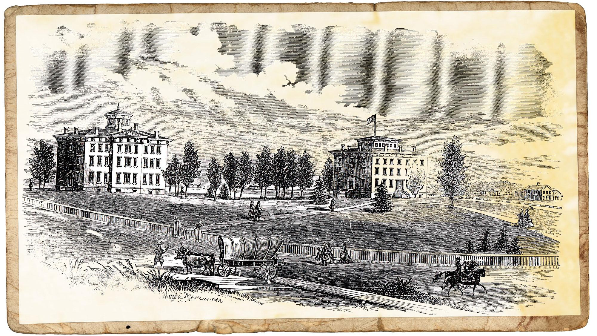Two buildings on a slight rise, a covered wagon and people on horseback are in the street below