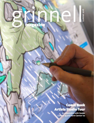 Cover of Summer 2016 Grinnell Magazine: close up of digital comic